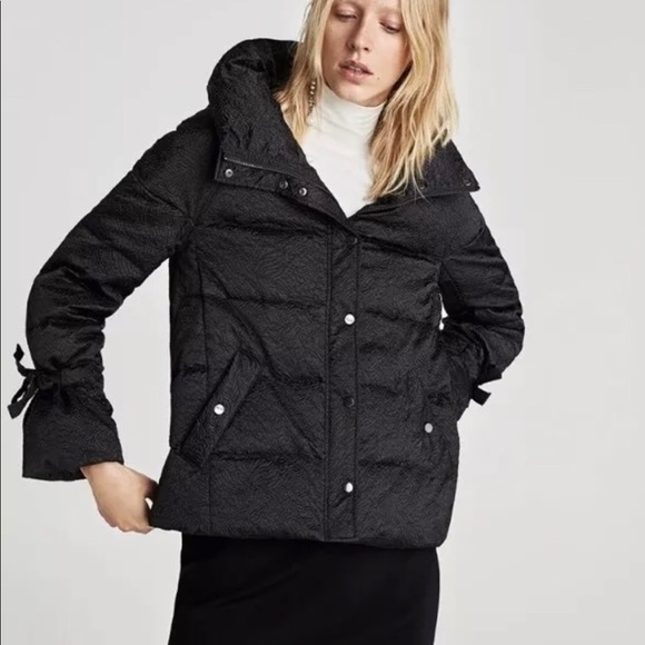 hot-selling newest many fashionable multiple colors NWT Zara Black Jacquard Down Puffer Coat NWT